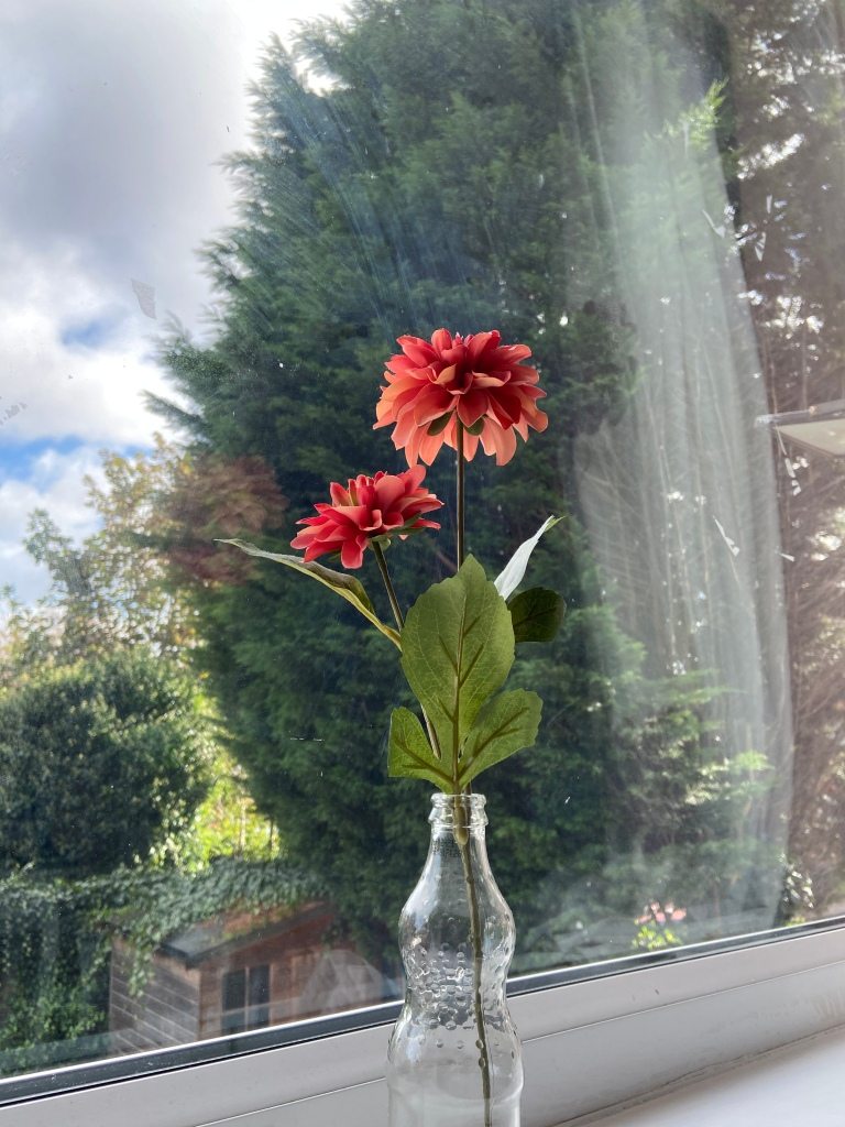 Red flowers in a little vase